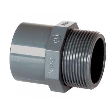 "PVC tvarovka - přechodka 63–50 x 1 1/2"" ext."