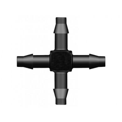 Spojka kříž PP 4 mm vzduchovací, hadičkový